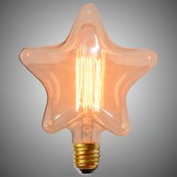 Wholesale Newest Retro Star Shape Thomas Edison Bulb E27 W Incandescent Bulbs Vintage Filament Bulb Tungsten Edison Light Squirrel Bulb