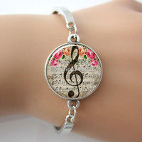 art rhodium - G Clef Bracelet Music Note Bangle Glass Cabochon Dome Charm Art Musical Note Picture silver brcelet For Women Gifts GL018