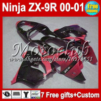 Wholesale HOT Red black gifts For KAWASAKI NINJA ZX9R C1760 High Quality bodywork ZX R R ZX R red black Full Fairings