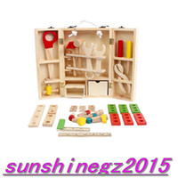 Wholesale delicate wooden educational toy multifunctional disassembly carpenters tool box set tool toy