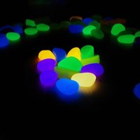 Wholesale Novelty Solar Energy Glow Pebble Stone Glow in the Dark DIY Decorative Gravel Stones For Fish Tank Luminous Stone Color for sale