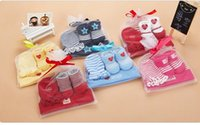 baby clothes pack - Baby Newborn Clothes Baby Bids Toddlers Baby Burp Cloths Kids Three Pieces Set Gift Packing Bids Caps Gloves Socks KB204
