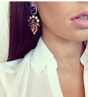 Wholesale 2014 fashion gem earrings Brand Drop dangle Earrings gems Exquisite Chandelier Crystal Earring Charm Jewelry Design Earrings