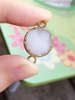 Wholesale 6pcs Gold plated White Round shape Natural Druzy Quartz connector Drusy Crystal Gem stone Pendant Beads Jewelry findings