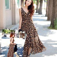 Wholesale Sexy Deep V Women Maxi Dress New Plus Size Casual Dresses Fashion Leopard Chiffon European and American Style Beachwear