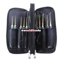 auto leather kits - Professional Single Hook Locksmith Tools Lock Pick Kit Set x Tension Wrench Leather cover case