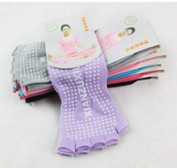 Wholesale 5 Pairs Non slip Women Yoga Socks Open Toe Cotton Athletic Sport multicolor Socks In Stock