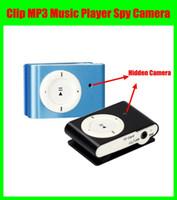 al por mayor mini digital audio video recorder-Clip Mini DVR MP3 reproductor de música ocultos espía cámara videocámara videocámara grabadora de audio digital azul / negro envío gratuito
