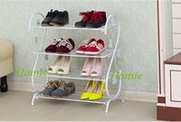 Wholesale piece Shoe Rack Shelf Storage simply constructed Metal White Black Brown Floor type Multilayer Folding