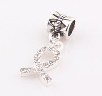 cancer charms - Crystal Rhinestone Ribbon Breast Cancer AWARENESS Dangle Beads Pendant Charms Jewelry Findings JJAL BE339