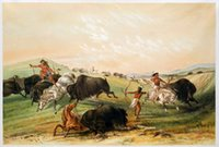 animal buffalo pictures - Buffalo Hunt by George Catlin Large Wall Pictures for Living Room H