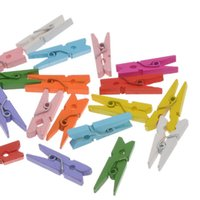 Wholesale 2015 Fashion x100PCs Wooden Clothespin Craft Clips Mixed Colors Scrapbooking Craft Accessories mm x7 mm