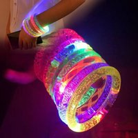 Wholesale LED Stick Bracelet Acrylic Glitter Glow Flash Light Flashing Glowing Bracelet Concert Party Disco Christmas Gift Fast Shipping