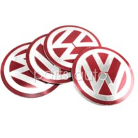 Wholesale Red amp Silver Wheel Center Hub Caps Good Emblem Badge mm case for VW Volkswagen M22510