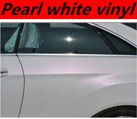 al por mayor rollo de abrigo del coche del vinilo blanco-El vinilo blanco de la perla del satén de la alta calidad envuelve la etiqueta engomada del vinilo de la etiqueta engomada del vinilo de la alta calidad que envuelve la película Tamaño: 1.52 * 20M / Roll (5ft x 65ft)