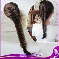 Wholesale 20inch handmade synthetic long wavy rope ponytail plait false fishbone braided hair elastic drawstring Rope Hair Chignon Braid Fishtail Plai