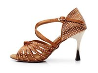 Wholesale Style Latin dance shoes women s Suede Leather Satin Rhinestones comfortable soft bottom with high cm