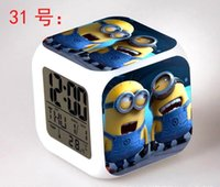 Wholesale 2015 Cheap Hot Retail Minecraft alarm clock Despicable Me alarm clock LED Change Digital Alarm Clock Night Colorful Changing clock
