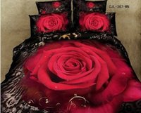 Cheap 3D Black red rose bedding comforter set sets queen size quilts duvet cover sheets bedspread bed in a bag sheet 100% cotton linen