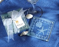 glass coasters - Beach Themed Glass Coaster Wedding Favors Set of sets Lowest Price