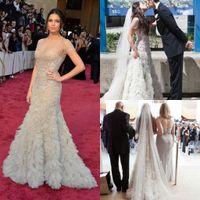 Wholesale BM Jenna Dewan th Oscar Sheer Crystal Jewel Neck Short Sleeve Tulle celebrity Dresses Academy Awards Red Carpet Mermaid Wedding Dress