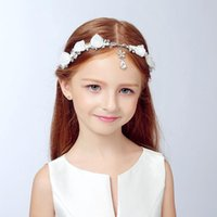 Wholesale Children Crystal With Silk Flowers Headwear Wedding And Party Hair Accessories Jewelry New Style In Stock