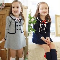 baby navy uniform - PrettyBaby Cute Preppy Toddler Kids Baby Girl Princess College School Uniform Bow Knot Navy Ruffle Tops faux twinset dress