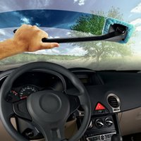 Wholesale Microfiber Auto Car Wash Window Cleaner Long Handle Brush Dust Car Care Windshield Shine Towel Handy Washable Car Cleaning Tool