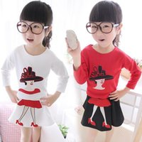 Wholesale High Quality New Girls Children Young Lady Printing Autumn Suit Outfits Girls Baby Long Sleeve Cotton T shirt Short Skirts Kids Suits