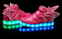 Acheter Enfants enfants chaussures ailées-USB chargeur 8 couleurs Enfants ailes LED Lighted Sneakers Mode Enfants Lumineux coloré lumières chaussures Filles Garçon Chaussures Casual
