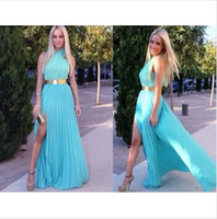 Wholesale Blue pleated chiffon dress bohemian maxi halter dress long summer beach dress vent sexy club party dress plus size vestidos