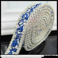 Wholesale hot fix blue rhinestone tape yards fancy decorative ironed on gemstone colorful trimming