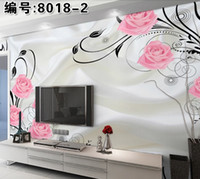 Wholesale New can custom made large D mural art wallpaper home decor Personality visual Abstract painting Nonwoven fabric wallsticker Color roses