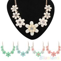 Wholesale Sweet Women s Flowers Candy Color Fresh Style Pendant Necklace Collar Chain Z1