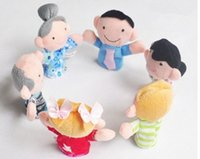 Wholesale YIYUAN Creative plush toy even refers to a set of six family dolls doll plush toys finger doll DHL