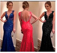 Wholesale 2015 Hot Evening party Dresses for women Lace V Neck Backless Sexy mother off bride dresses long evening party dresses Plus Size S XXXL