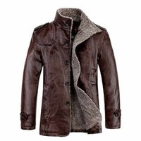 Wholesale Men Casual Leather Jacket Coat New Fashion Long Sleeve Mandarin Collar Plus Size Solid Outerwear