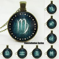 zodiac charms - 12 Styles Vintage Glass Cabochon Signs Of Zodiac Bronze Necklace Men Women constellations Pendant Necklaces Charm Infinite Jewelry Gifts