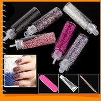 Wholesale 2014 New Colorful Caviar Nail Art Beads Caviar Manicure Nail Polish DIY D Nail Art Decorations Set Kit with Colors