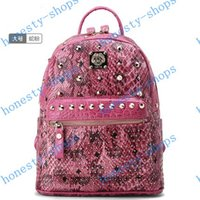 Wholesale Brand New MCM Korean star models new trend exo rivets python shoulder bag backpack school bag fashion handbags Pink