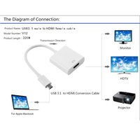 lcd tv hdtv - V12 USB Type C Full HD P Male to HDMI Converter Female Display Adapter for HDTV LCD TV PC Projector Laptop Smart Phone V1460