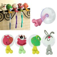 Wholesale Modern cute Cartoon sucker toothbrush holder For Children Kids Gift cattle pig cat frog rabbit Jul07