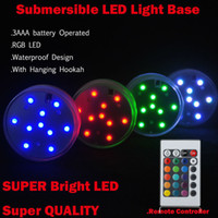 Wholesale Floral centerpiece Decoration Color Changing Waterproof LED Vase Light Round Multicolo Base Operated Submersible