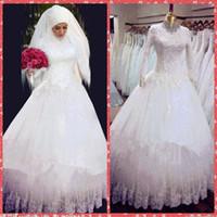 Cheap 2016 muslim Wedding Dresses Best 2016 lace a line bridal gowns