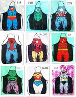 Wholesale 50pcs HOT sale Sexy Men Women Apron superhero Apron spiderman avengers Batman Kitchen Cooking Chef Novelty Funny Naked BBQ Party D477