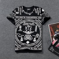 alphabet fitness - 2015 Top Promotion V neck Fitness Yuan Sufeng Ktz Religious Texts Totem Symbol Alphabet Loose T shirt Men And Women T Printing