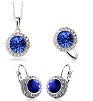austrian lead crystal - New Fashion18K Gold Plated Austrian Crystal Jewelry Set Anti allergic Lead Free Wedding Jewelry Set for Women