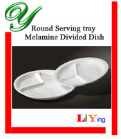round plastic food tray - Section divided plate melamine dinner dish fast food container buffet serving tray inch white round compartment portion plastic plates