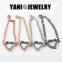 Wholesale Curved Heart with Rhinestone Floating Locket Bracelet Mix Colors Crystal Bracelets for Women Men Mix Colors