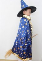 Wholesale Hot Children s witch hat mask cloak clothes suit Kids Halloween and Christmas costumes kids performance clothing